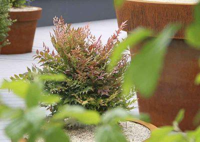 Plantation en pot d'acier Corten