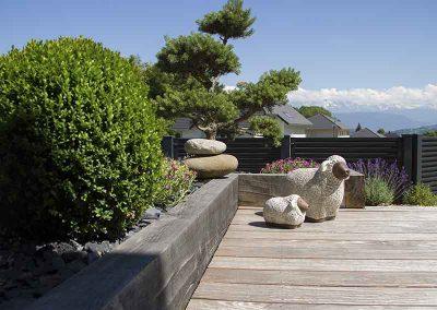Terrasse bois, mur en poutre chêne