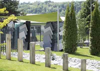 Monolithe poutre chêne, présentoir